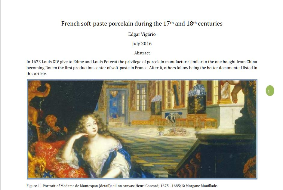 French soft-paste porcelain during the 17th  and 18th centuries Edgar Vigário