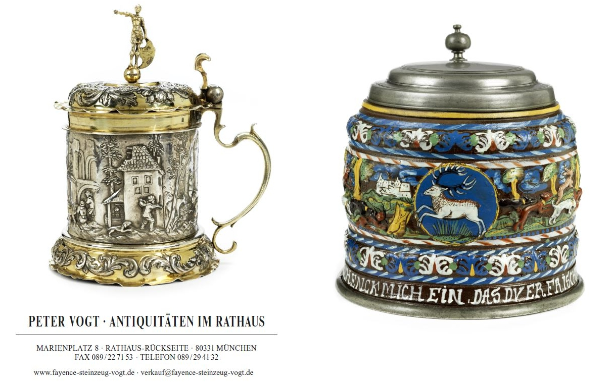 KAtalog Peter Vogt Antiquitäten München 2020 Fayence Steinzeug Silber Zinn