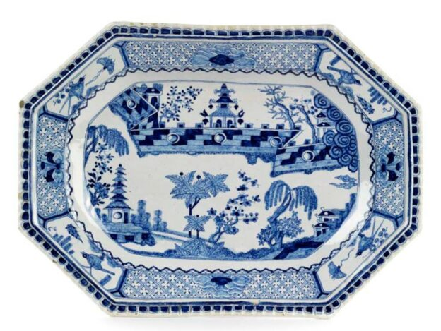 18th century Ansbach Faience Charger blue and white