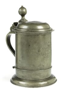 Early 18th century Pewter Tankard Bakers guild dated 1711