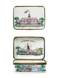 18th century Baroque Ellwangen enamelled snuff box hunting decor Bechtdolff