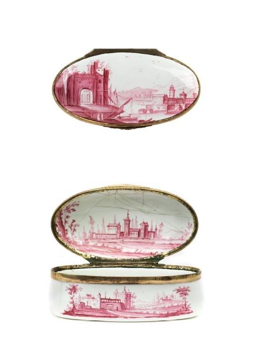 18th century Baroque Ellwangen enamelled snuff box crimson camaïeu Bechtdolff