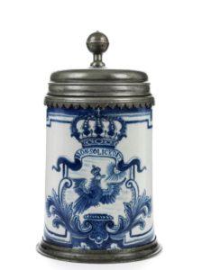 18th century Berlin Faience Tankard Cornelius Funcke Non Soli Cedit