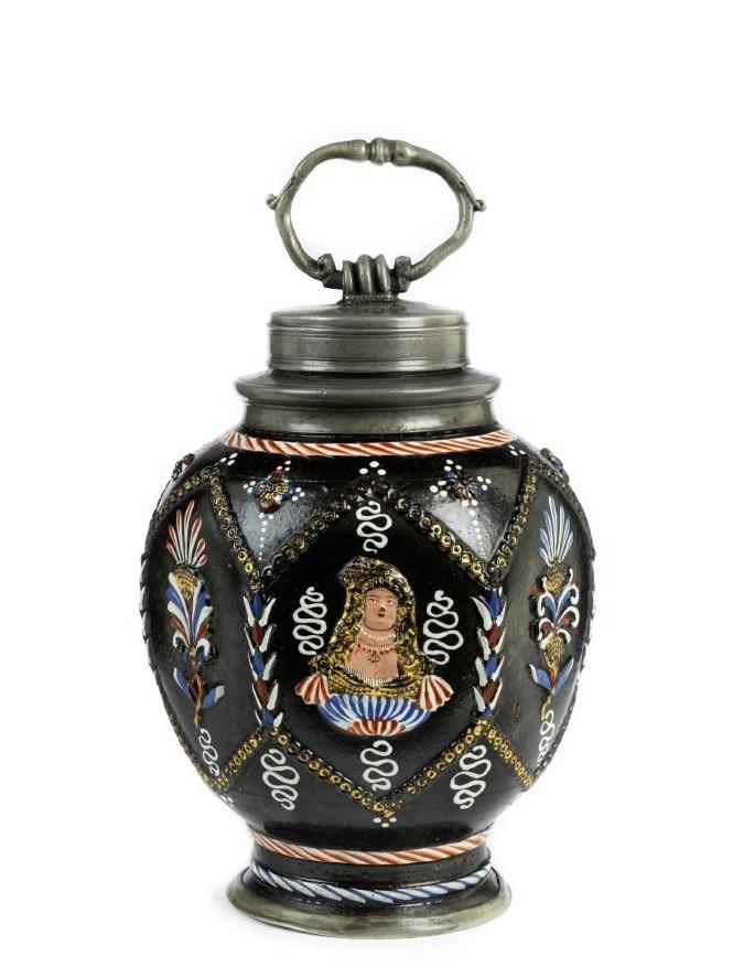 17th century Annaberg Dippoldiswalde saltglazed Stoneware bottle