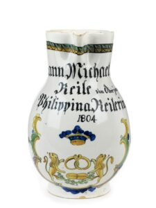 Durlach Faience Jug Bakers Guild dated 1804