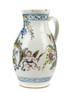 18th century Ludwigsburg Faience Jug cooper guilt with markers mark