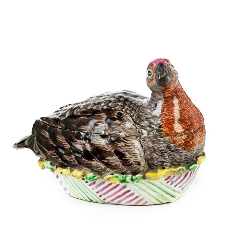 18th century Proskau Faience Tureen guinea fowl