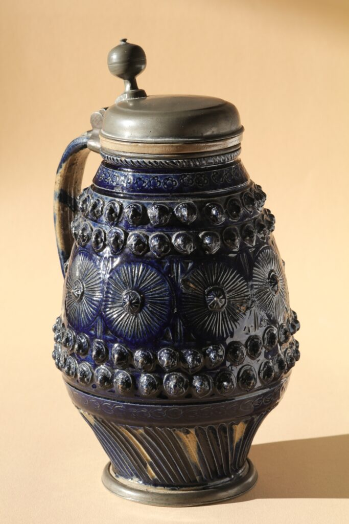 17th century works of art Muskau Blue Glazed Stoneware Tankard