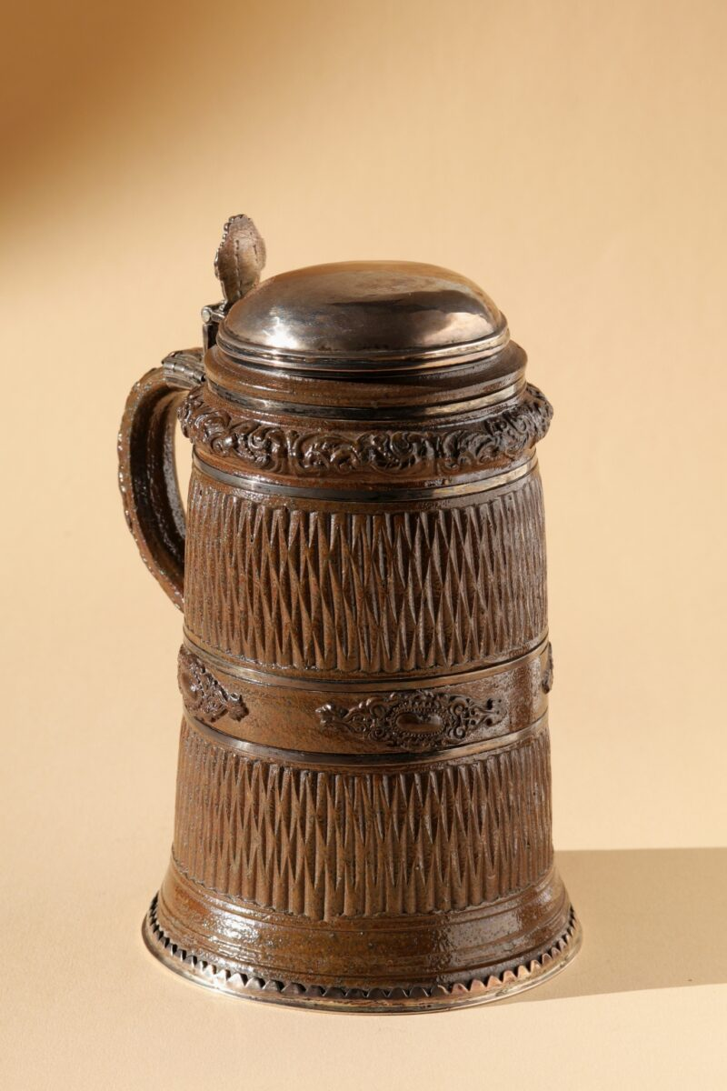 17th century Creussen saltgazed stoneware Tankard with silver lid