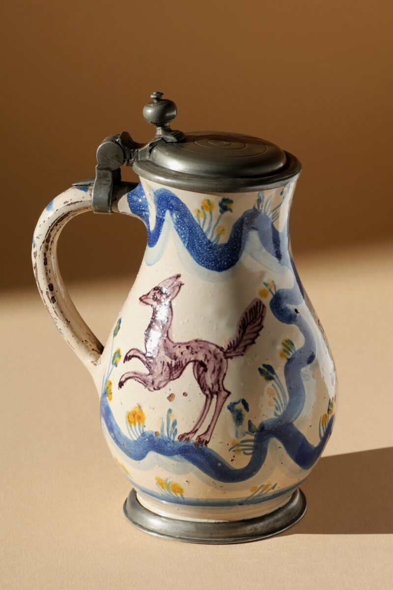 Late 17th century Baroque Salzburg Faience Hunting Jug workshop Obermillner