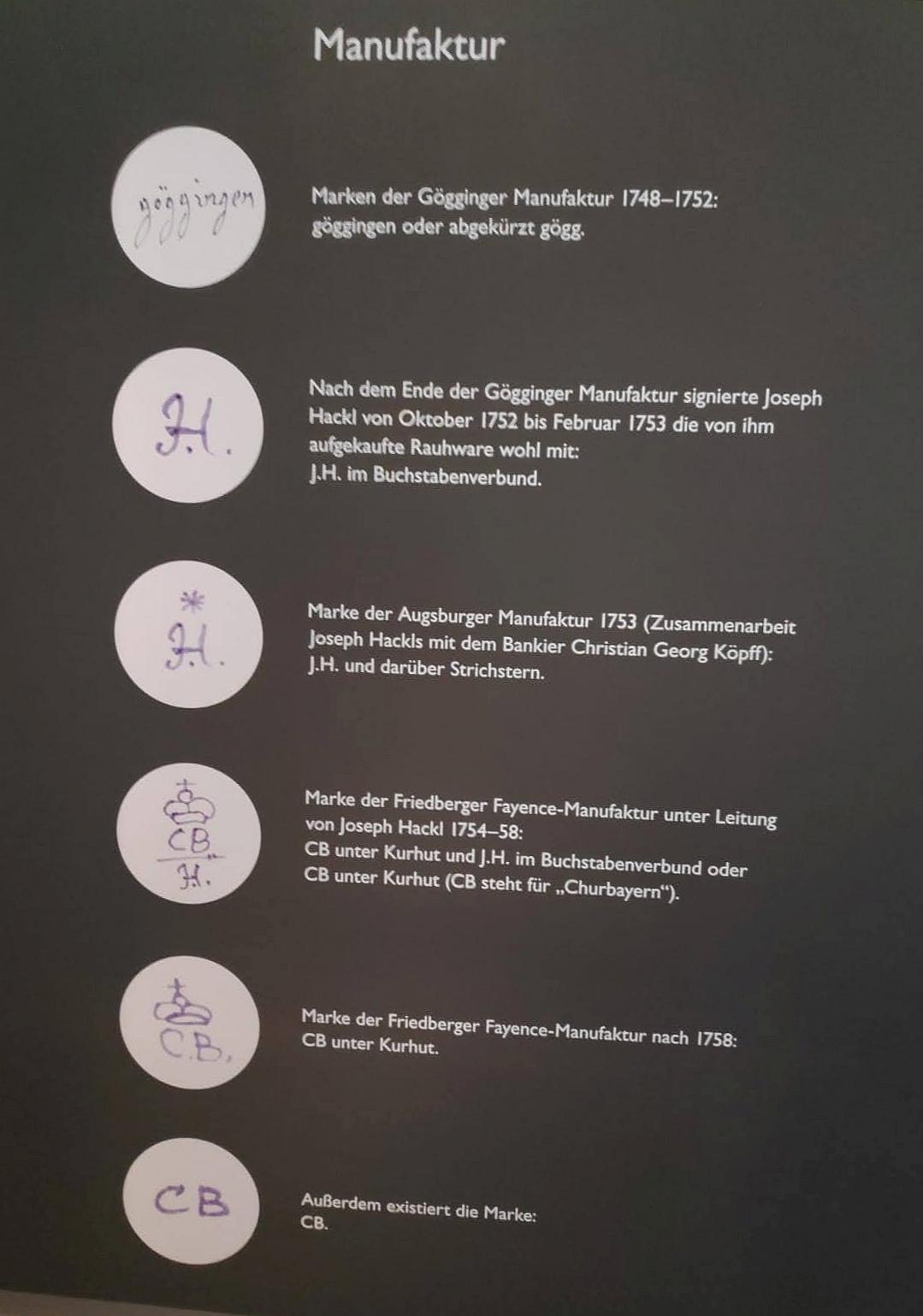 18. Jh Fayence Museum im Wittelsbacher Schloss Manufaktur Marken