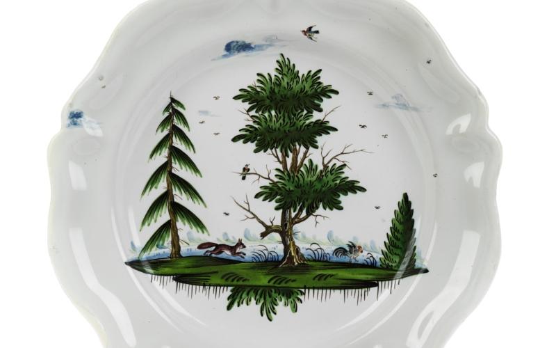 Baroque 18th century Faience Plate Hunting Kuenersberg