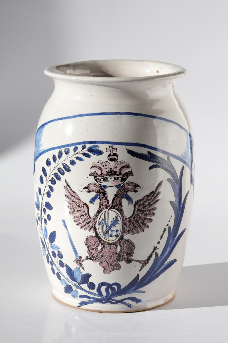 Baroque 18th century faience apothecary jar coat of arms