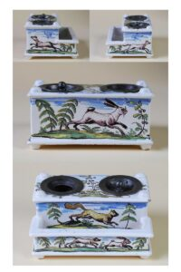 Baroque 18th century faience ink stand with hunting decor Crailsheim ca 1770