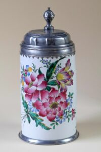 Baroque 18th century Faience Tankard with Flowers