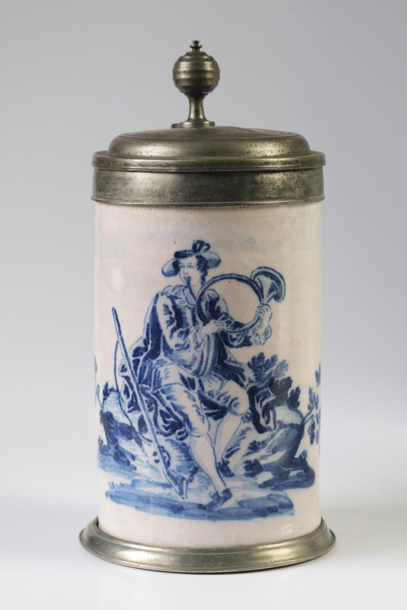 18th century Friedberg Faience hunting tankard