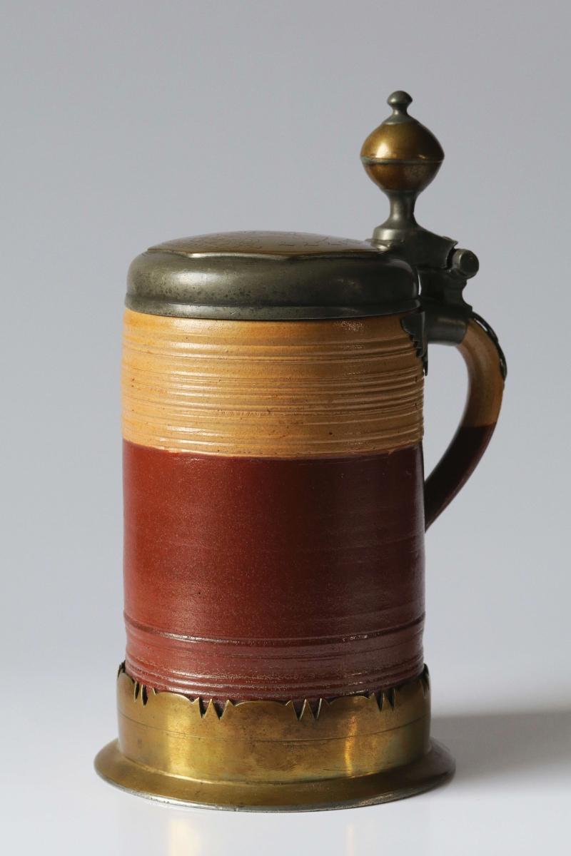 18th century works of art stoneware jug pewter lidding master J. Wohlers