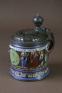 17th century stoneware tankard creussen crest