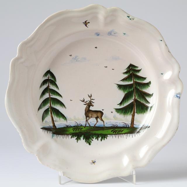 Baroque Kuenersberg hunting faience plate with deer 18th century