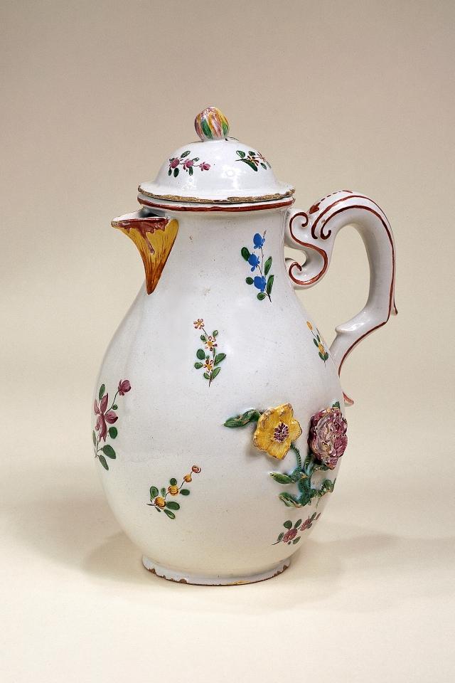 Crailsheimer Fayence Kaffeekanne Muffelfarben um 1770