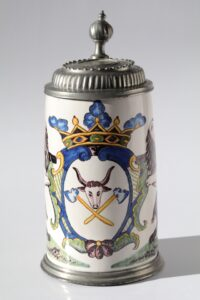 18th century Crailsheim Faience Tankard butchers guilt
