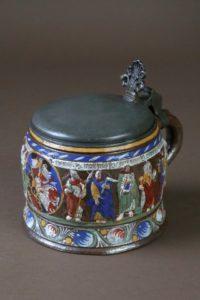17th century stoneware tankard creussen crest apostle