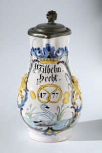 18th century Durlach Faience Jug bakers guilt