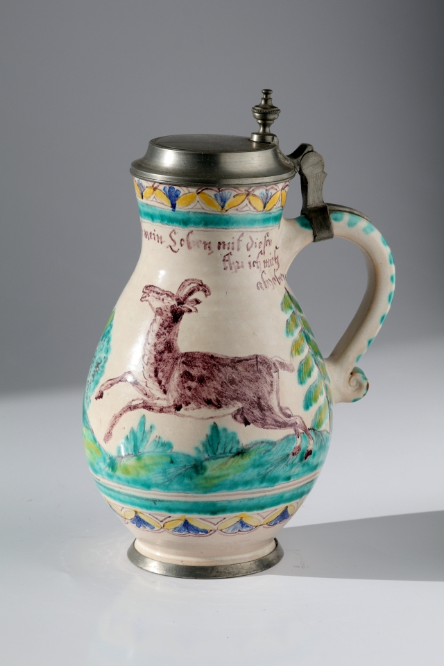 Gmunden Faience Hunting Tankard ca. 1845 with chamois