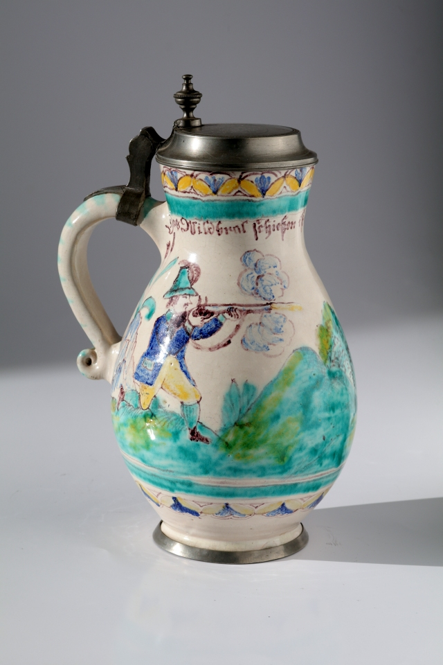 Gmunden Faience Hunting Tankard ca. 1845