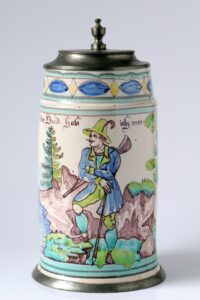 Gmunden Faience Hunting Tankard ca. 1840