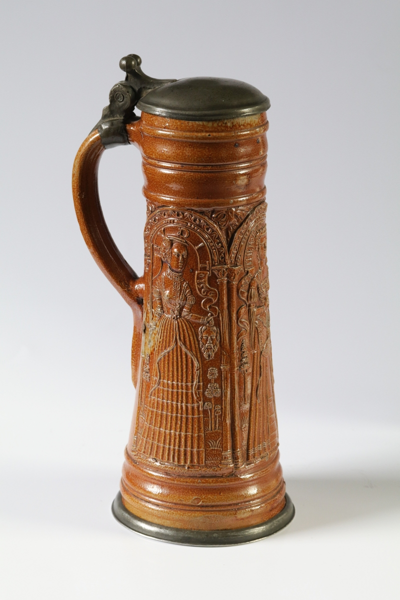 16th century raeren Tankard schnelle with Judith, Esther and Lucretia, dated 1566